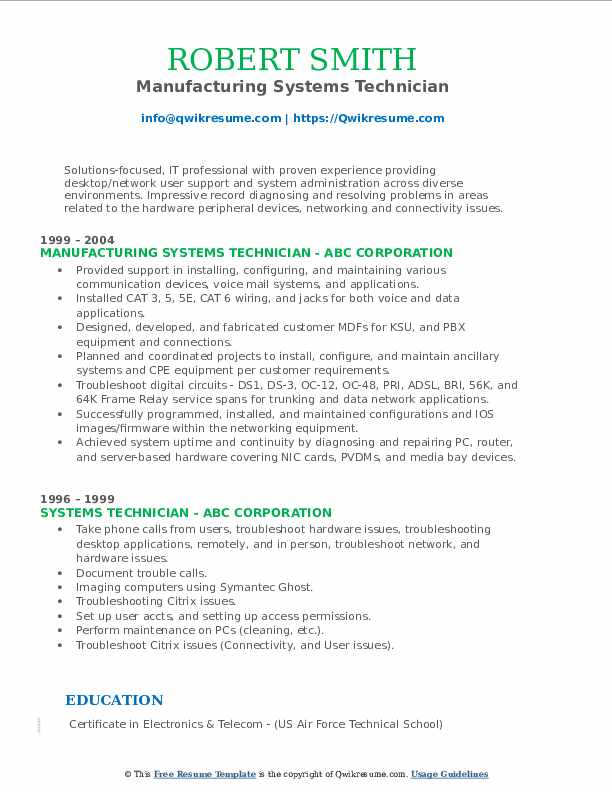 Manufacturing Systems Technician Resume Sample