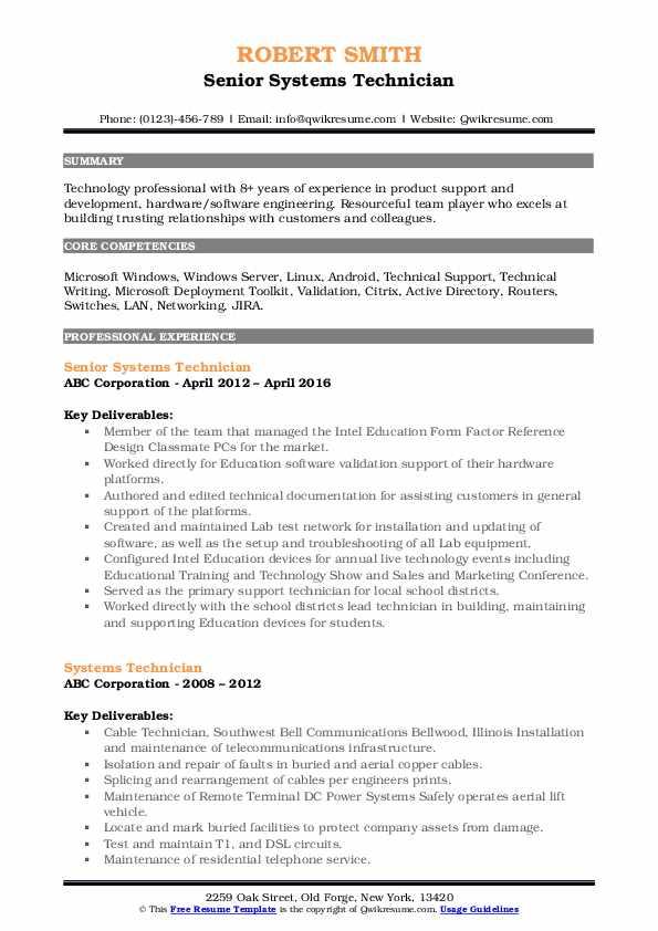 Senior Systems Technician Resume Format