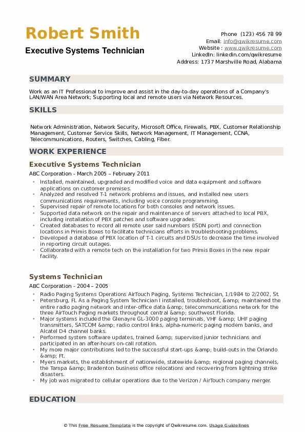 Executive Systems Technician Resume Format