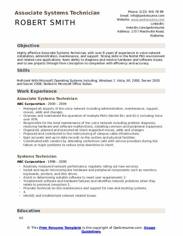 Associate Systems Technician Resume Sample