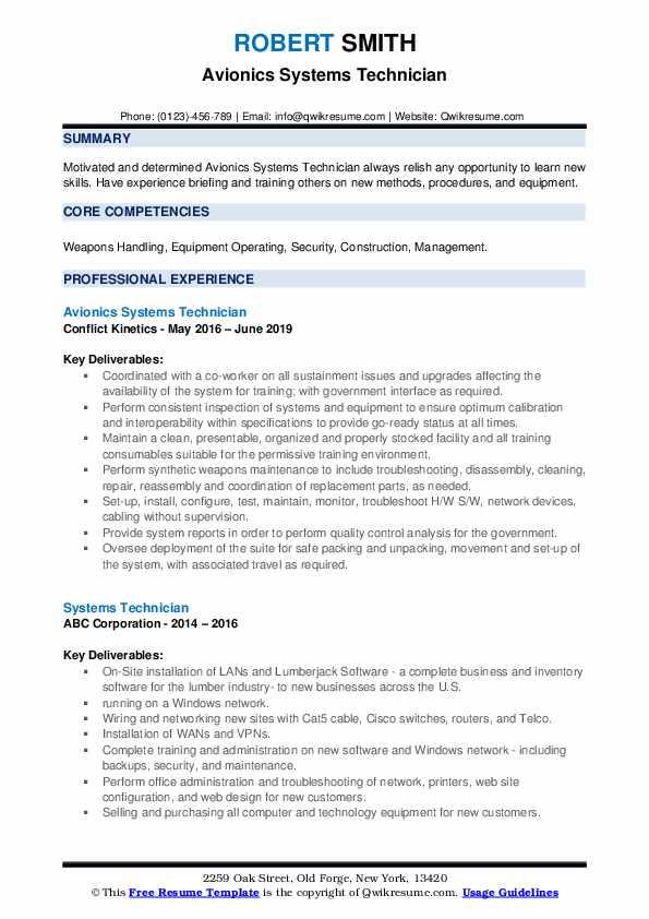 Avionics Systems Technician Resume Format