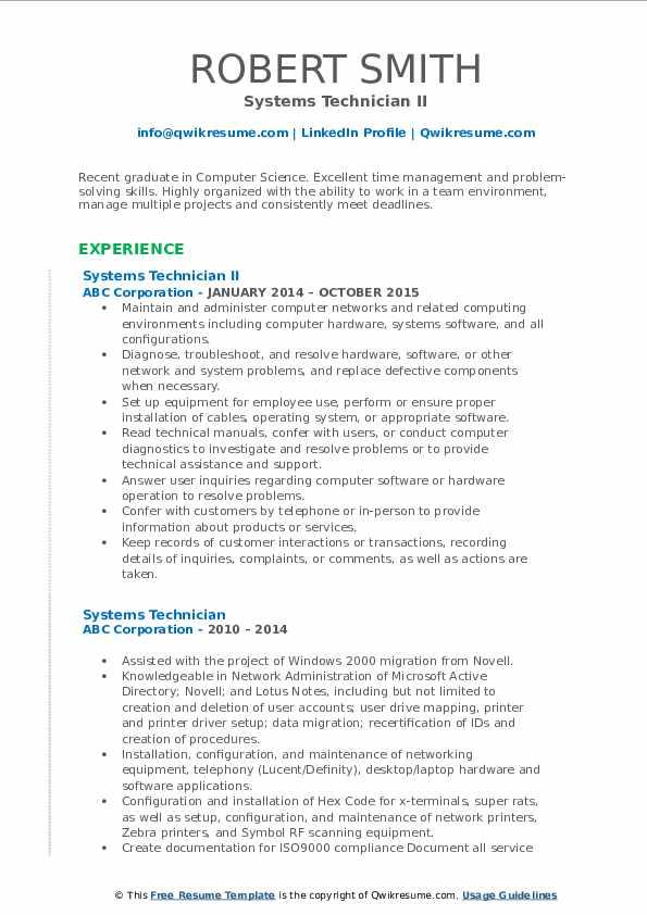 Systems Technician II Resume Template
