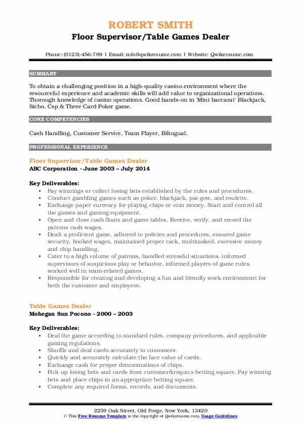table games dealer resume samples