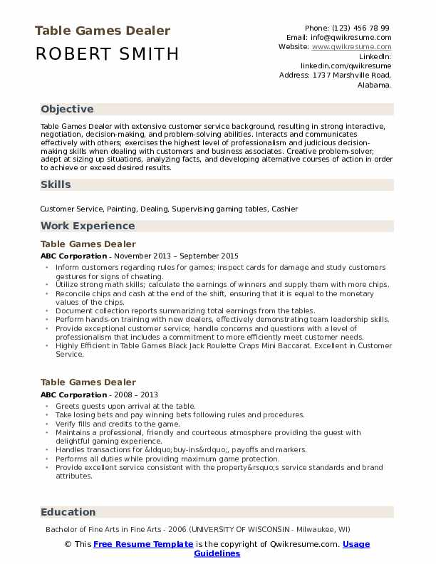 Table Games Dealer Resume example