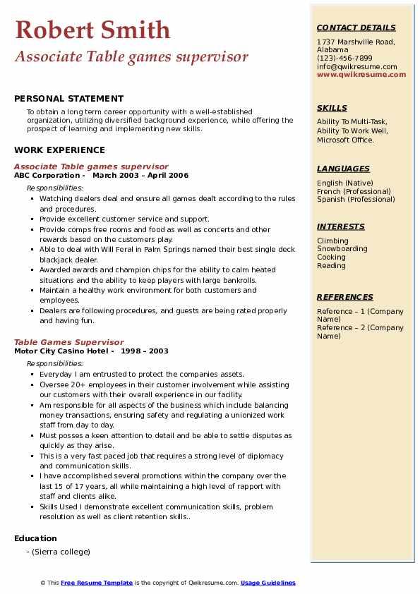 Casino Supervisor Job Description For Resume ...