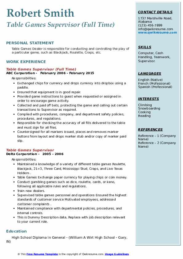 Table Games Supervisor Resume example