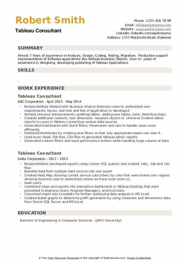 Tableau Consultant Resume example