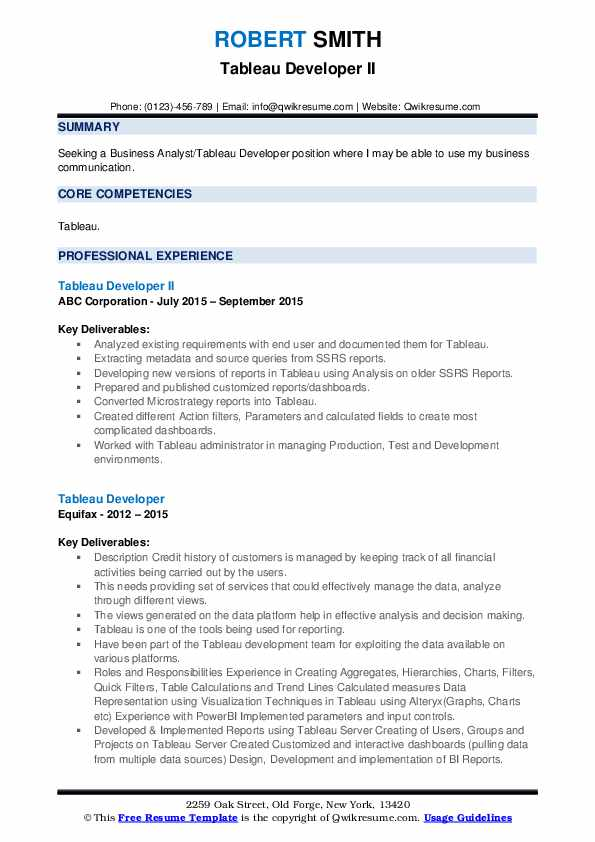 Tableau Developer Resume Samples | QwikResume