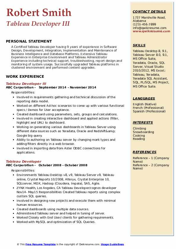 tableau developer resume samples