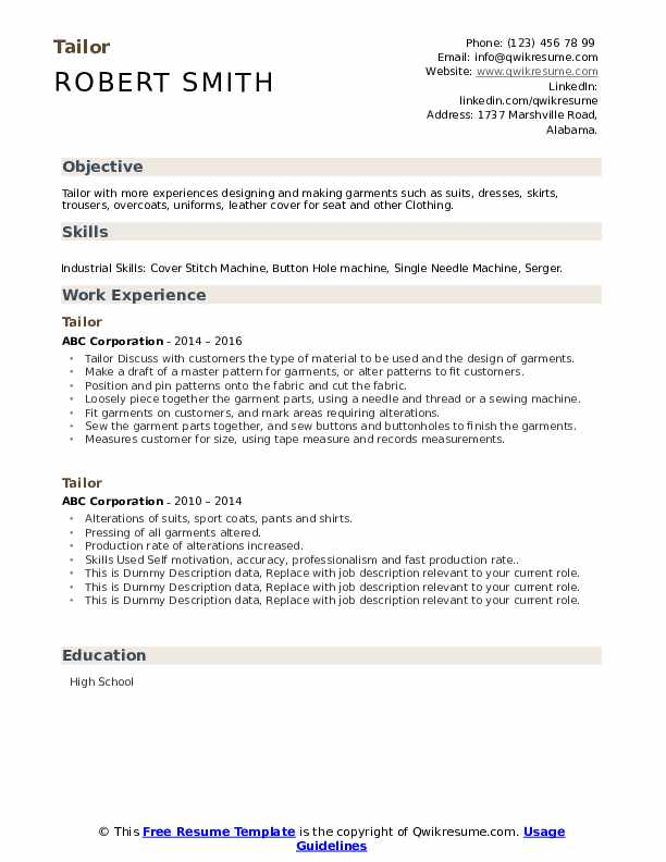 Tailor Resume example
