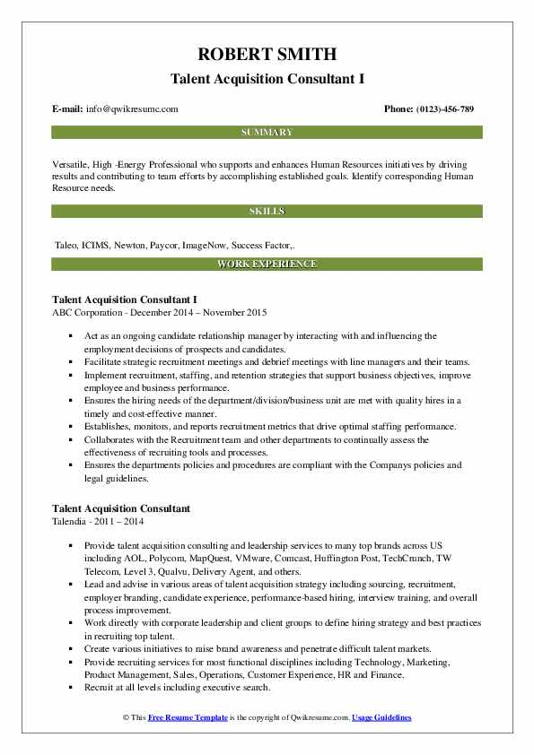 Talent Acquisition Consultant Resume Samples Qwikresume