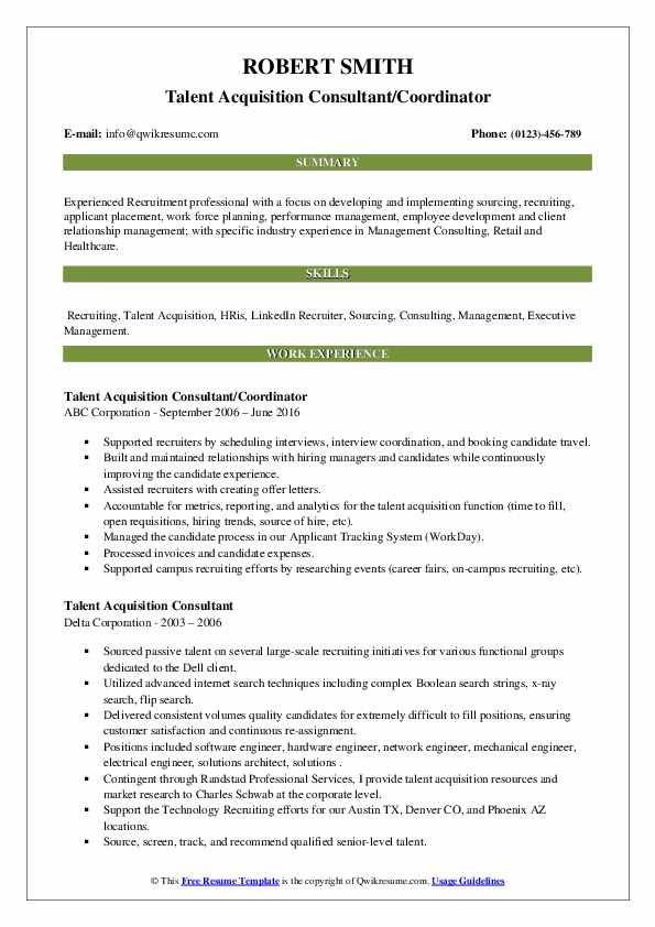 Talent Acquisition Consultant Resume example