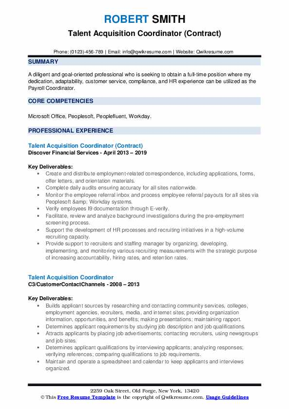 Talent Acquisition Coordinator (Contract) Resume Sample