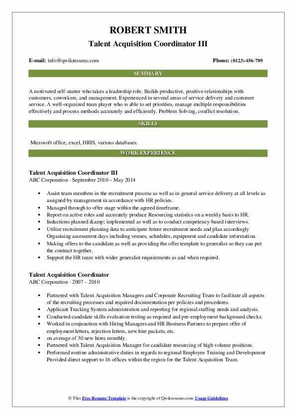 Talent Acquisition Coordinator III Resume Sample