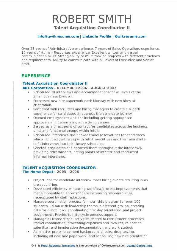 Talent Acquisition Coordinator II Resume Example