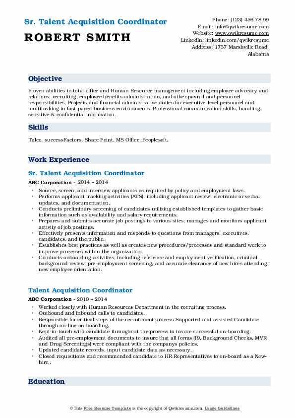 Sr. Talent Acquisition Coordinator Resume Format
