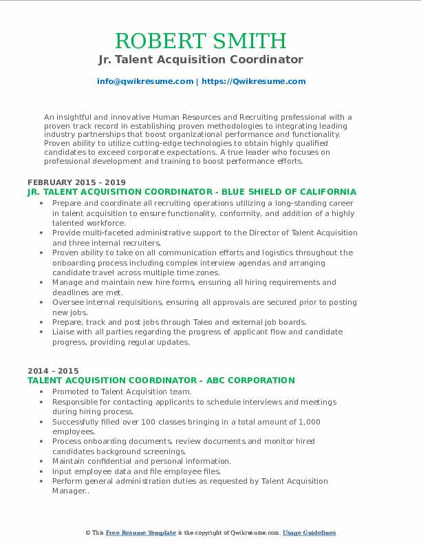 Talent Acquisition Coordinator Resume Samples Qwikresume