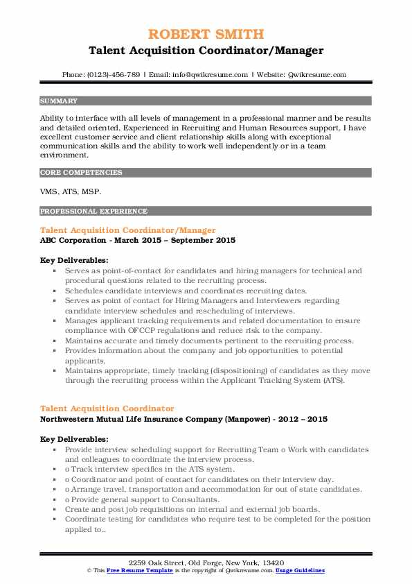Talent Acquisition Coordinator/Manager Resume Model