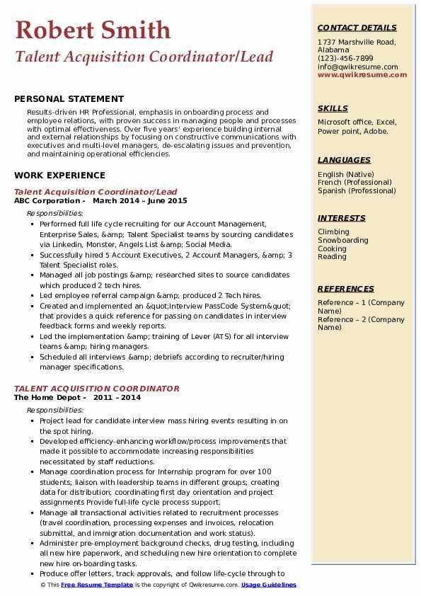 Talent Acquisition Coordinator/Lead Resume Template
