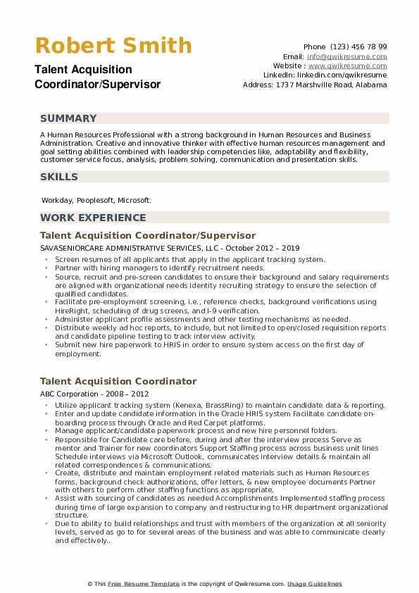 Talent Acquisition Coordinator/Supervisor Resume Model