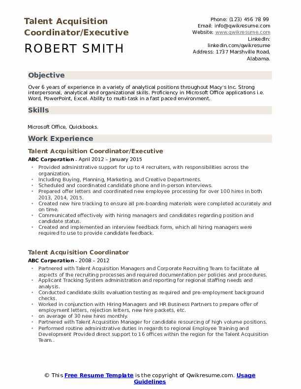 Talent Acquisition Coordinator/Executive Resume Sample