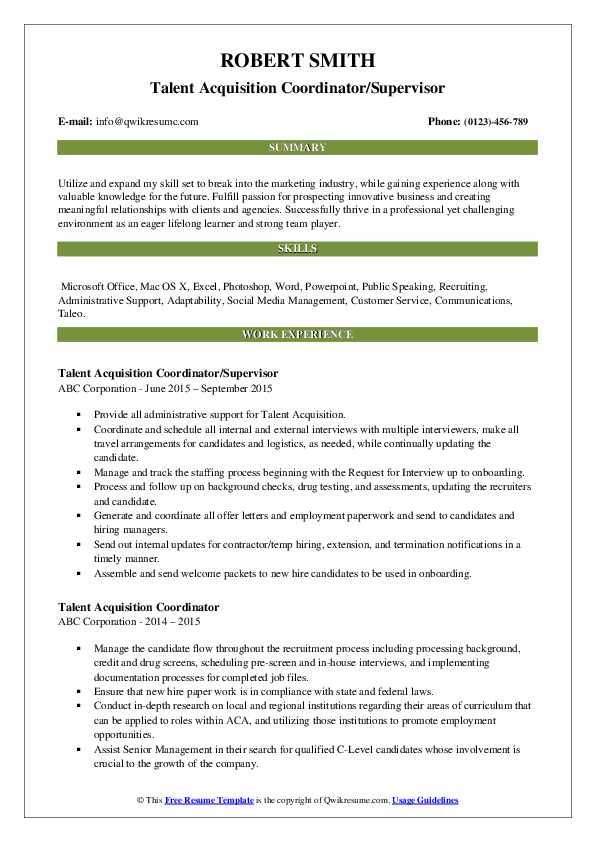 Talent Acquisition Coordinator/Supervisor Resume Sample