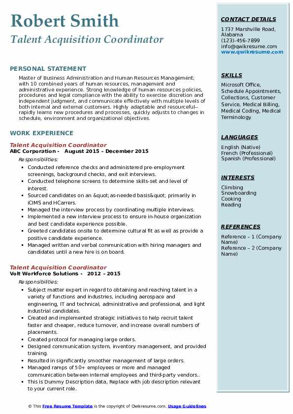 Talent Acquisition Coordinator Resume example