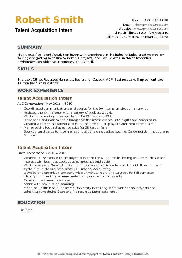 Talent Acquisition Intern Resume example