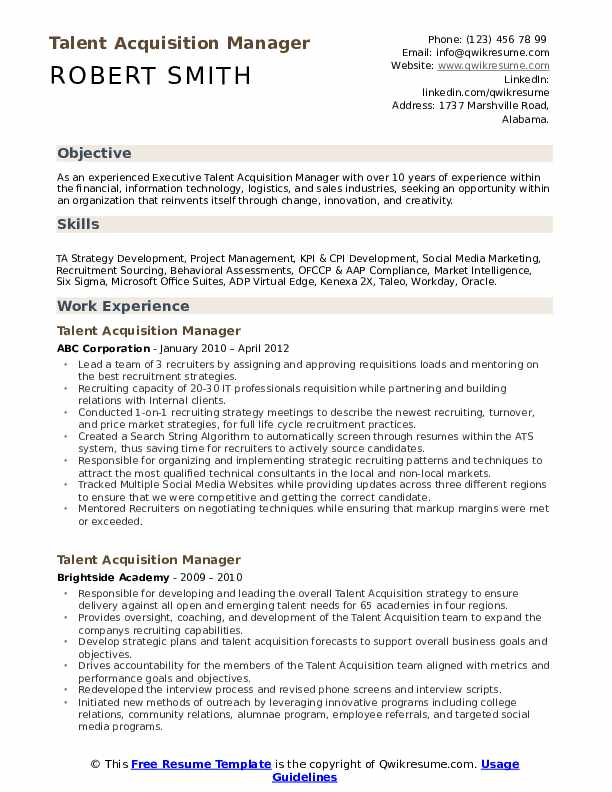 talent acquisition manager resume samples