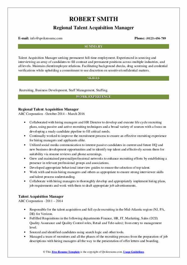 Regional Talent Acquisition Manager Resume Template