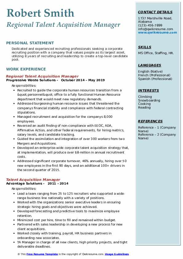 Regional Talent Acquisition Manager Resume Sample