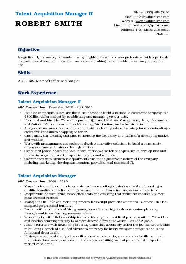 Talent Acquisition Manager II Resume Example