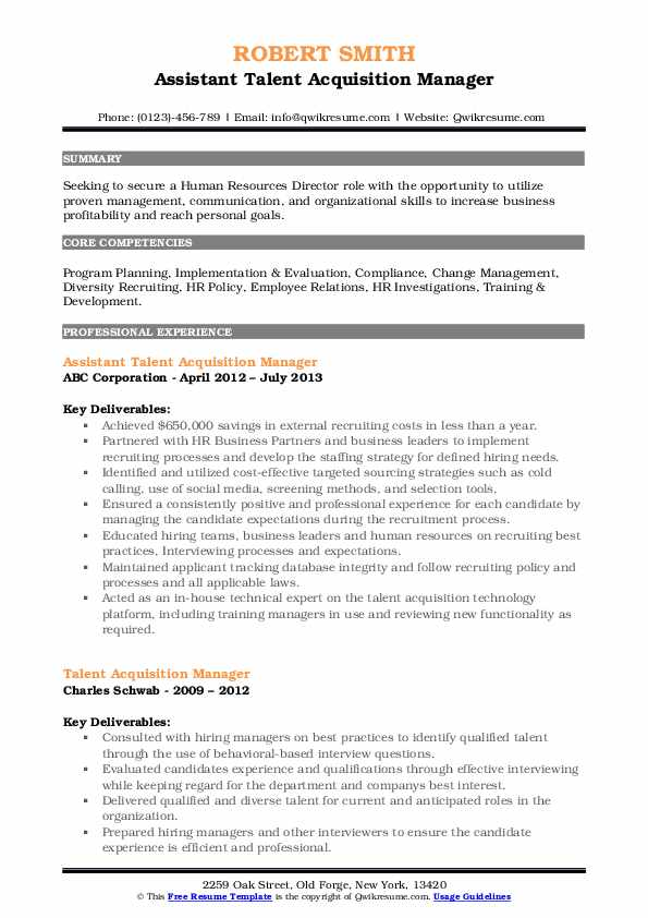 Talent Acquisition Manager Resume Samples Qwikresume