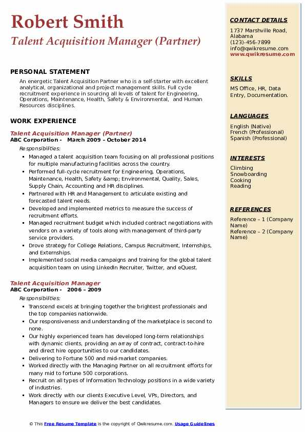 Talent Acquisition Manager (Partner) Resume Template