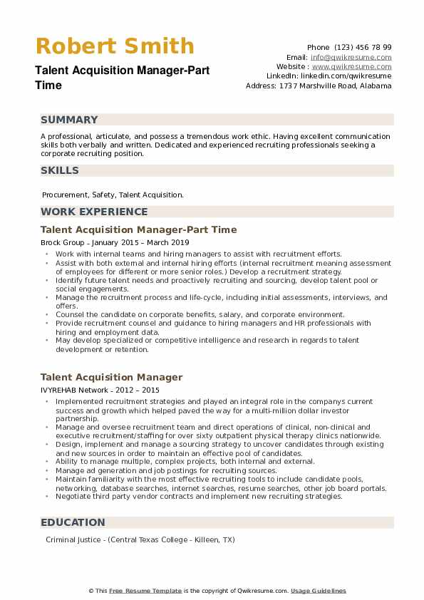 Talent Acquisition Manager-Part Time Resume Sample