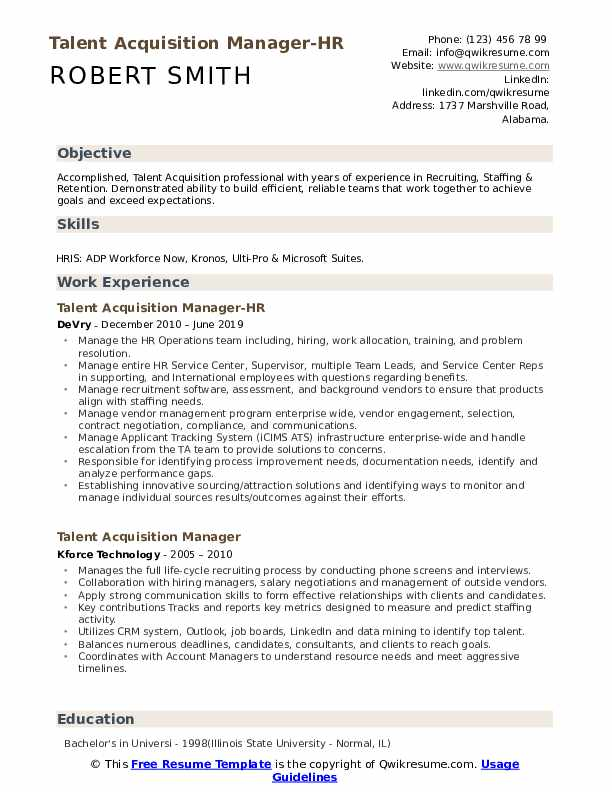 Talent Acquisition Manager-HR Resume Format
