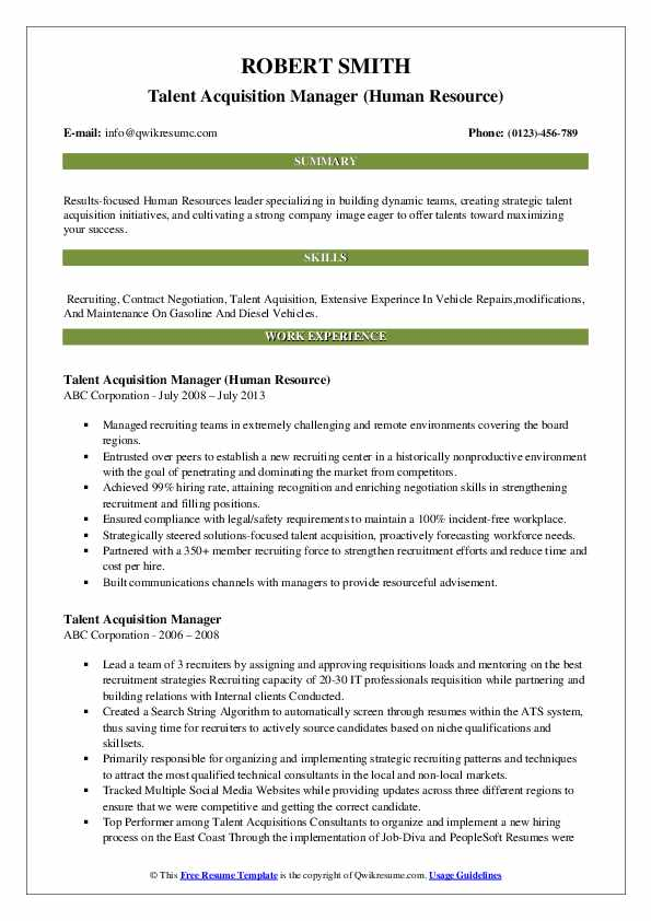 Talent Acquisition Manager (Human Resource) Resume Model