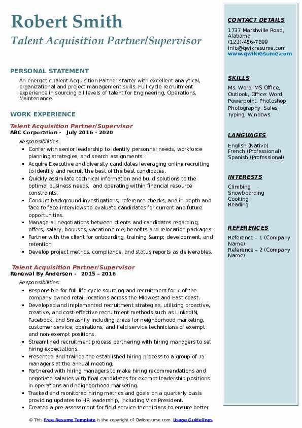 talent acquisition partner resume samples  qwikresume