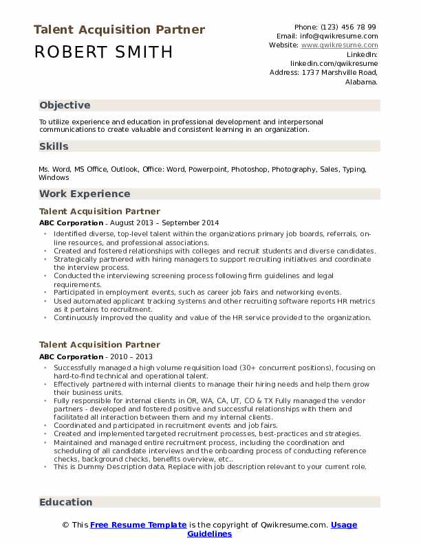 Talent Acquisition Partner Resume example