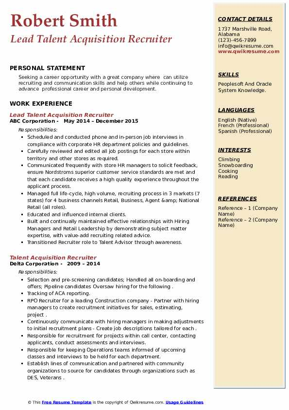 talent acquisition recruiter resume samples  qwikresume