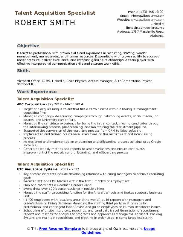 Talent Acquisition Specialist Resume Samples | QwikResume