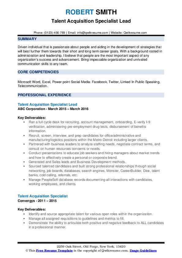 Talent Acquisition Specialist Lead Resume Format