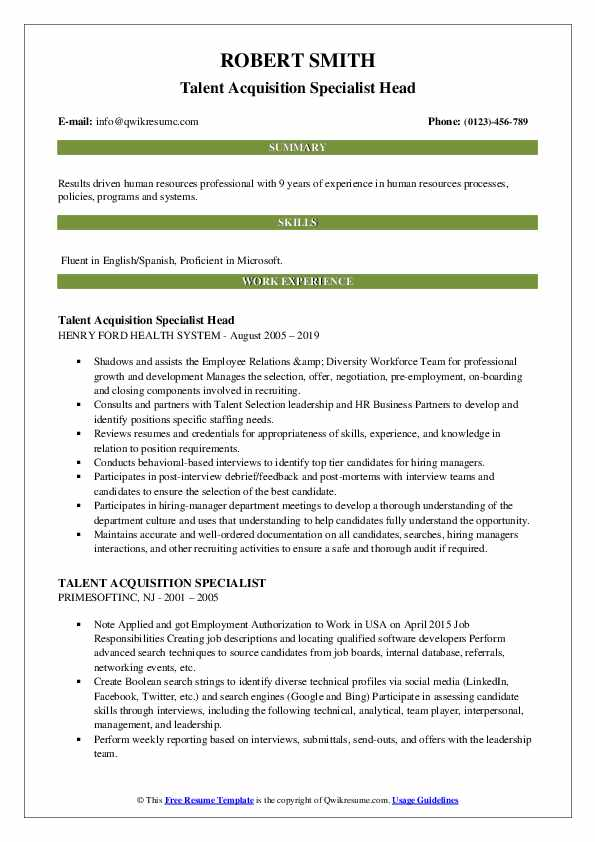 Talent Acquisition Specialist Head Resume Example