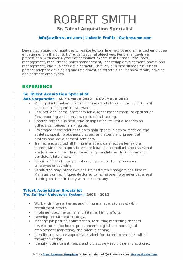 Sr. Talent Acquisition Specialist Resume Example