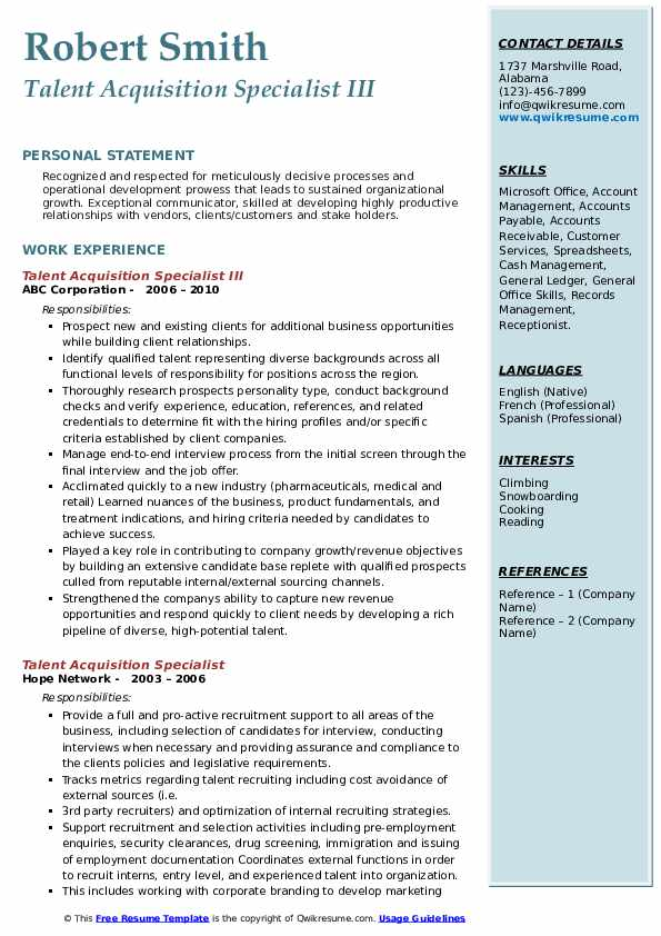 Talent Acquisition Specialist III Resume Format