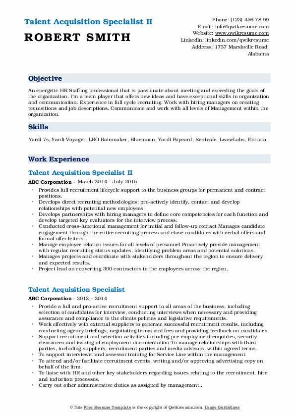 Talent Acquisition Specialist II Resume Format