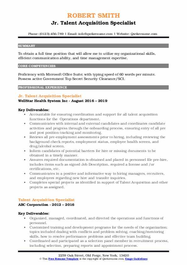 Jr. Talent Acquisition Specialist Resume Example