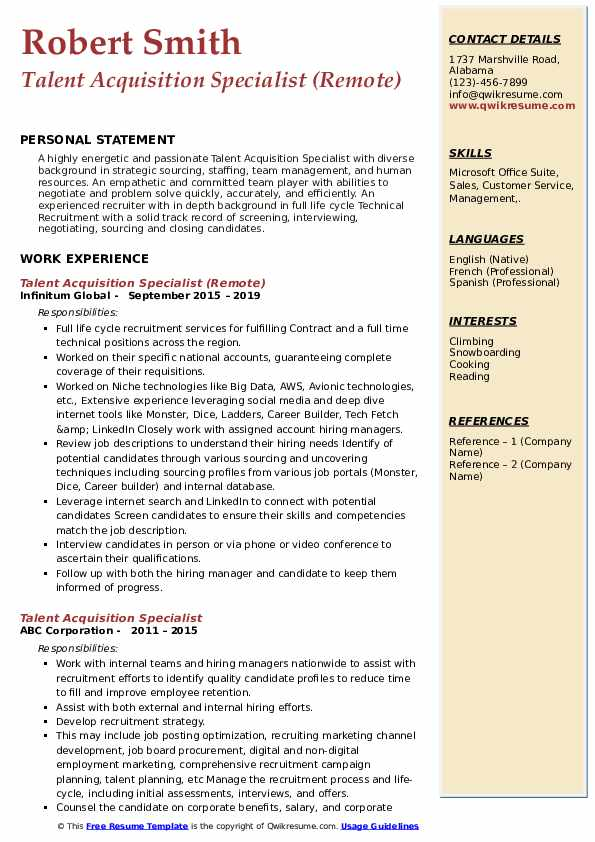 Talent Acquisition Specialist (Remote) Resume Template