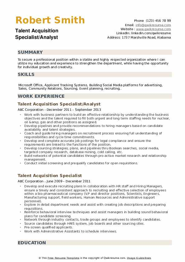 Talent Acquisition Specialist Resume Samples Qwikresume
