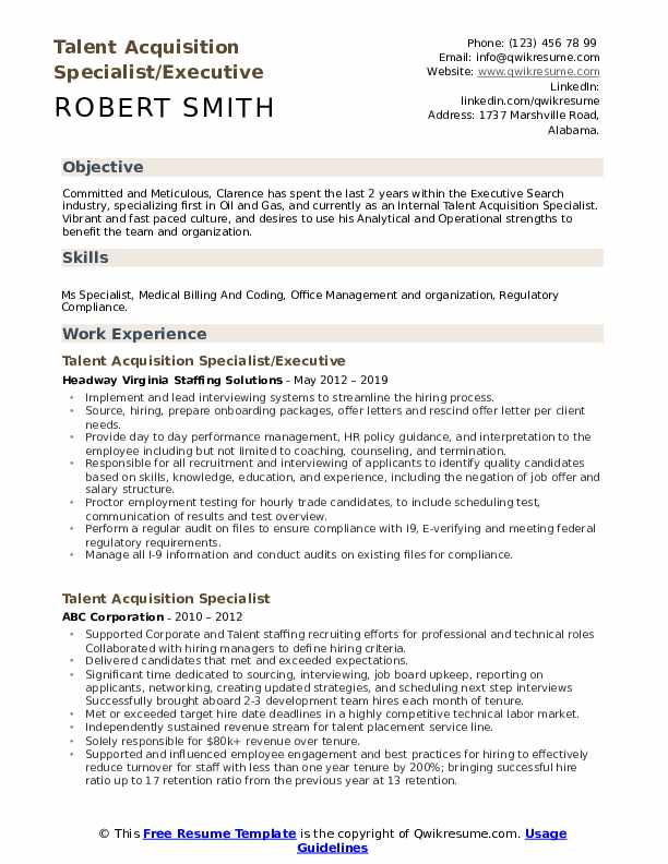 Talent Acquisition Specialist/Executive Resume Model